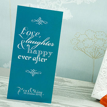 Love Laughter 3-fold Wedding Invitation in Teal