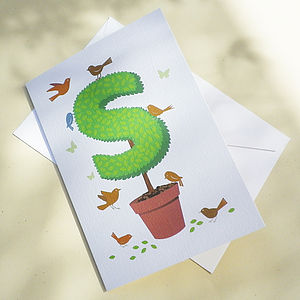 Personalised Topiary Alphabet Letter Card