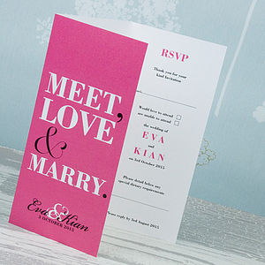 Meet Love Marry Three Fold Wedding Invitation - wedding stationery