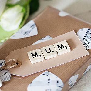 'Mum' Vintage Scrabble Gift Tag - finishing touches