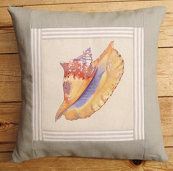 Hand Painted Conch Shell Cushion