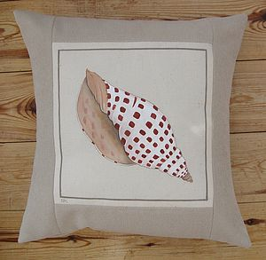 Hand Painted Junonia Volute Shell Cushion - cushions