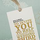 Wordie Wallet Wedding Invitation in Gold