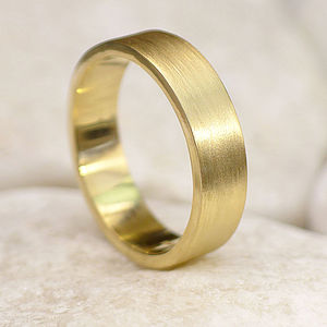 5mm Gold Wedding Ring, Spun Silk Finish