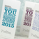 Wordie 3-Fold Wedding Invitation in Teal