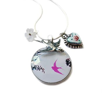 Silhouette Bird Charm Necklace