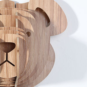 Wooden Animal Trophy Head Bear