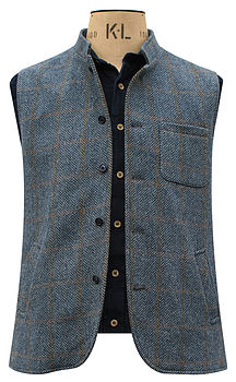 Blue Tweed Nehru Jerkin in Herringbone Patch