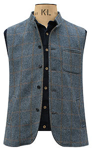 Blue Nehru Jerkin In Herringbone Pattern