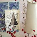 Set Of Three Linen 'Tree' Christmas Cards