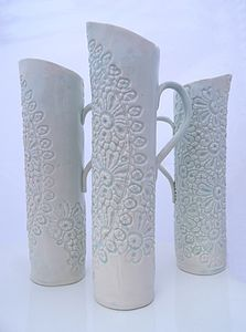 Lace Embellished Porcelain Jugs - ornaments