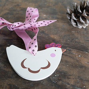 Hand Painted Christmas Hen Decoration