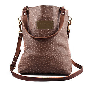 Ostrich Print Leather Tote Bag