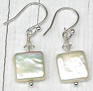 Dainty Square Fresh Water Coin Pearl Earrings