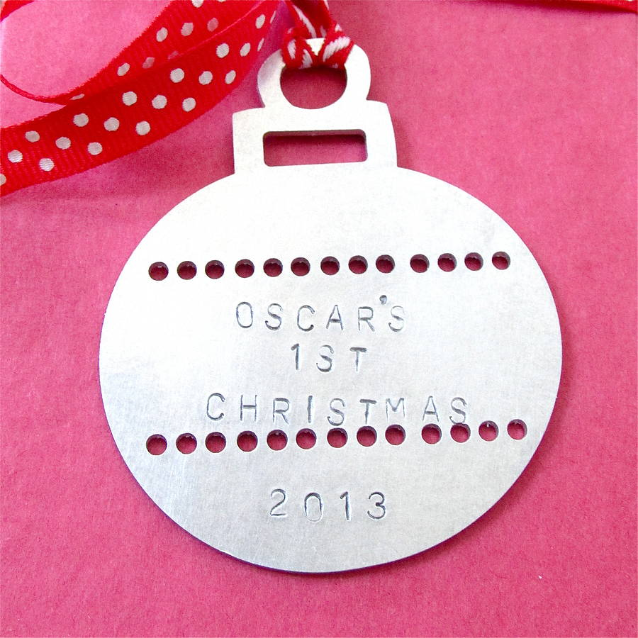 Baby 39 s first christmas bauble decoration by edamay for Baby s first christmas decoration