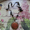 Vintage Japanese Floral Pendant Necklace