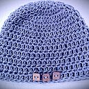 Organic Cotton Ocean Blue Beanie with buttons