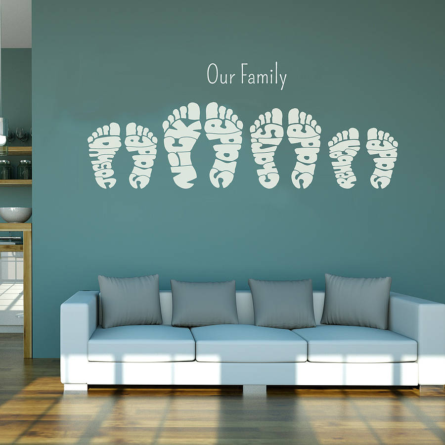 Personalised footprint wall art stickers by name art for Creating a mural