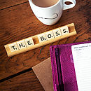 'The Boss' Vintage Scrabble Desk Name