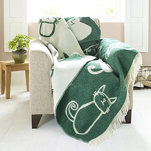 Cat Design Lambswool Blanket - throws, blankets & fabric