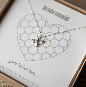 'The Bee's Knees' Bridesmaid Silver Necklace - jewellery gifts for bridesmaids