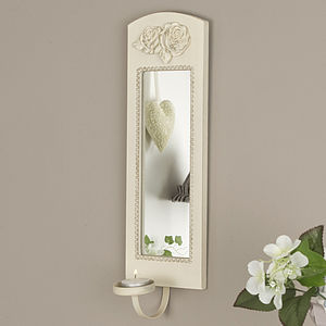 Wooden Cream Rose Wall Scounce With Mirror - bedroom