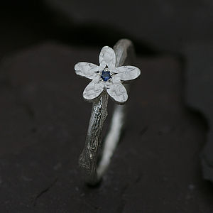 Flower Ring Set With A Sapphire