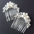Pair Of Delicate Pearl And Crystal Hair Combs