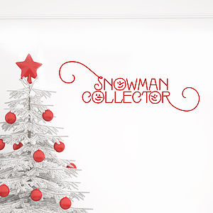 Snowman Collector Festive Wall Sticker - wall stickers