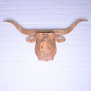 Wooden Animal Trophy Head Long Horned Cow