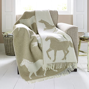 Horse Patterned Lambswool Blanket - throws, blankets & fabric