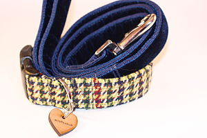 D'arcy Tweed Dog Collar And Velvet Lead By Scrufts - dogs