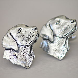 Pewter Labrador Head Cufflinks - cufflinks