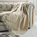 beige herringbone throw
