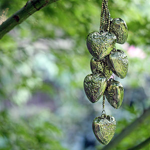 Cluster Of Silver Hanging Hearts - outdoor decorations