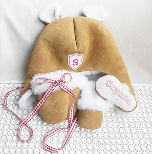 Personalised Sheepskin Hat, Mittens & Booties