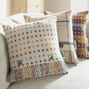 Rainbow Spot Wool Cushion - cushions