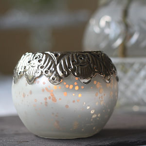Frosted White Tea Light Holder - tableware