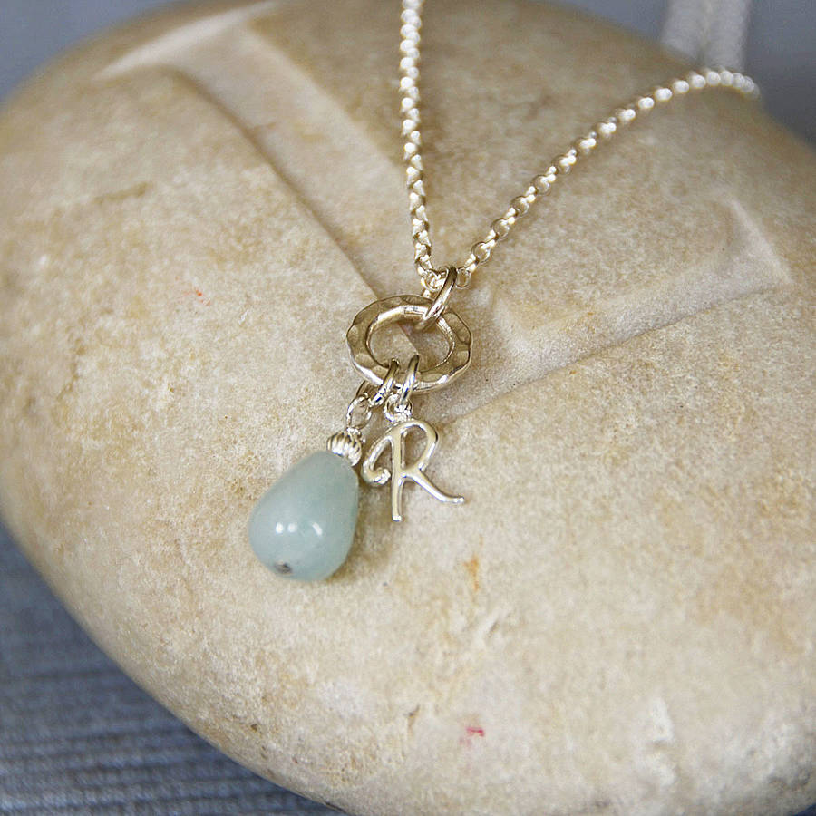 Personalised Amazonite And Silver Necklace