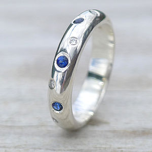 Blue Sapphire And Diamond Ring - wedding rings