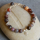 Personalised Agate And Silver Bracelet