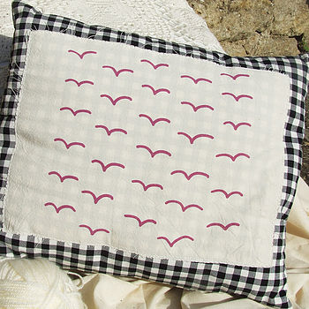 Hand Printed Birds Cushion