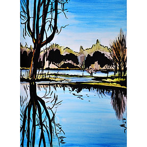 Flooded Rowing Lake Original Painting - paintings & canvases