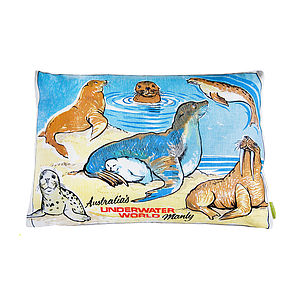 Upcycled Tea Towel Cushion Australian Sealife