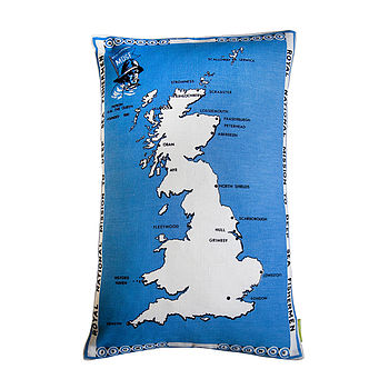 Map Of Britain Vintage Cushion