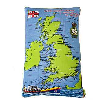 British Map Nautical Vintage Cushion
