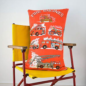 Upcycled Vintage Fire Engine Red Cushion - cushions