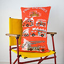 Upcycled Vintage Fire Engine Red Cushion