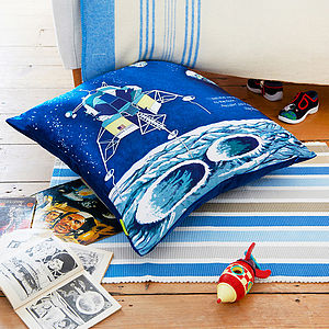 Blue Apollo Moon Upcycled Scarf Cushion - living room