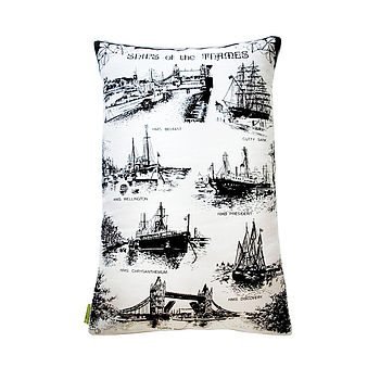 Vintage Cream Cushion Thames Ships Nautical